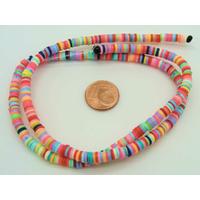 450 env Perles Rondelles Pâte polymère 4,5mm MIX couleurs par 1 fil