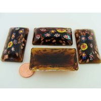 Cabochon VERRE Millefiori rectangle bombé 47mm MARRON par 1 pc