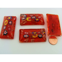 Cabochon VERRE Millefiori rectangle bombé 47mm ROUGE par 1 pc