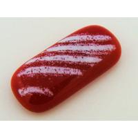 Cabochon VERRE fusing Rectangle 32mm bicolore Rouge Blanc par 1 pc