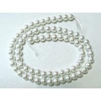 Perles verre peint RONDES aspect nacre 6mm BLANC par 68 pcs