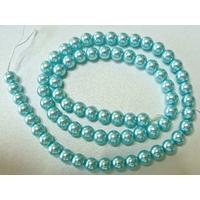 Perles verre peint RONDES aspect nacre 6mm BLEU par 68 pcs