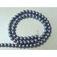 Perles verre peint RONDES aspect nacre 6mm BLEU GRIS par 68 pcs