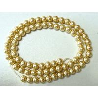 Perles verre peint RONDES aspect nacre 6mm JAUNE DORE par 68 pcs