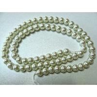 Perles verre peint RONDES aspect nacre 6mm BLANC CASSE par 68 pcs