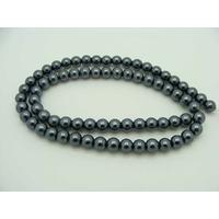 Perles verre peint RONDES aspect nacre 6mm GRIS FONCE par 68 pcs