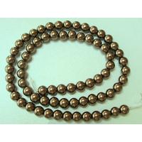 Perles verre peint RONDES aspect nacre 6mm KAKI FONCE par 68 pcs