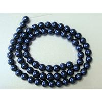 Perles verre peint RONDES aspect nacre 6mm BLEU NUIT par 68 pcs