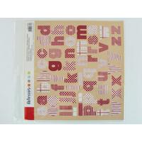 Stickers Alphabets Lettres Rouge motifs tissu feuille 30x30cm Artemio