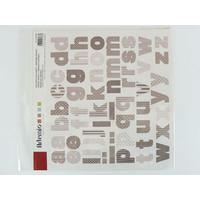 Stickers Alphabets Lettres Gris motifs divers 30x30cm Artemio