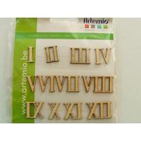 Embellissement scrapbooking Bois chiffres romains 1 à 12 nombres 16mm Artemio par 12 pcs