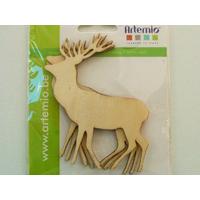 Cerf animal Forêt support en bois 95mm à décorer par 3 pcs