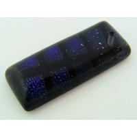 Pendentif en Verre Dichroïque rectangle Bleu Noir 28mm MOD08 par 1 pc