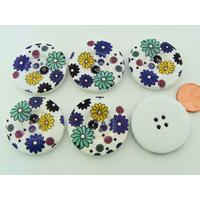 Boutons 30mm Bois fond Blanc Fleurs multicolores MOD9 par 6 pcs