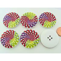 Boutons 30mm Bois fond Blanc Spirales multicolores MOD10 par 6 pcs