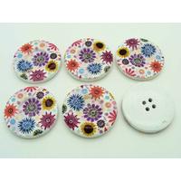 Boutons 30mm Bois fond Fleurs Multicolores fleurs MOD17 par 6 pcs