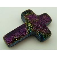 Cabochon VERRE Dichroïque Croix 24mm violet vert cab-153 par 1 pc