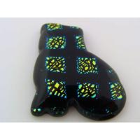 Cabochon VERRE Dichroïque Chat 27mm vert noir cab-154 par 1 pc