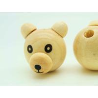 Perle bois Tête d'ours Ourson Bois crème 29mm par 1 pc