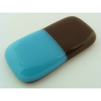 Cabochon VERRE fusing rectangle 43mm marron bleu cab-fusing-35 par 1 pc