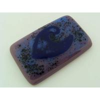 Cabochon VERRE fusing rectangle 51x32mm violet bleu cab-fusing-68 par 1 pc