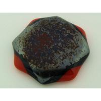 Cabochon VERRE fusing 37x36mm rouge noir métallisé cab-fusing-82 par 1 pc