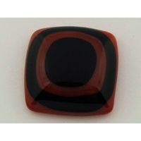 Cabochon VERRE fusing carré 26mm marron noir cab-fusing-101 par 1 pc