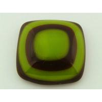 Cabochon VERRE fusing carré 26mm marron vert cab-fusing-102 par 1 pc