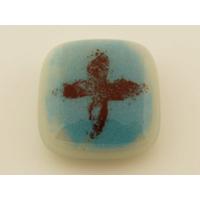 Cabochon VERRE fusing carré 17x17mm blanc bleu motif croix cab-fusing-109 par 1 pc