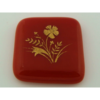 Cabochon VERRE fusing carré 34x36mm rouge motif plante fleur cab-fusing-104 par 1 pc