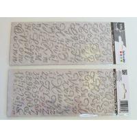Stickers Alphabet Lettres Chiffres 177 pcs argenté pailleté 2 planches 20,5x9cm Artemio