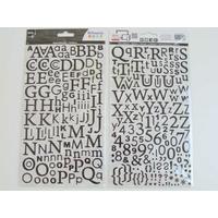 Stickers Alphabet Lettres Chiffres 300 pcs noir pailleté 2 planches 24,5x14cm Artemio