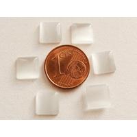 Cabochons verre Oeil de Chat Carré 8mm Blanc Gris par 10 pcs