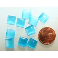 Cabochons verre Oeil de Chat Carré 8mm Bleu Azur par 10 pcs