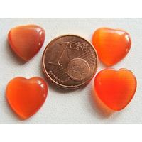 Cabochons verre Oeil de Chat Coeur 12mm Orange Foncé par 10 pcs