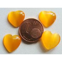 Cabochons verre Oeil de Chat Coeur 12mm Jaune Foncé par 10 pcs