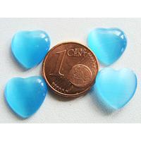 Cabochons verre Oeil de Chat Coeur 12mm Bleu Azur par 10 pcs