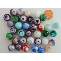 Perles rondes 12mm verre LAMPWORK Volutes Mix couleurs par 35 pcs