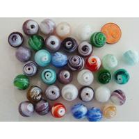 Perles rondes 12mm verre LAMPWORK Volutes Mix couleurs par 35 pcs