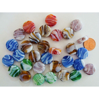 Perles galets plat 15mm verre LAMPWORK Volutes Mix couleurs par 30 pcs