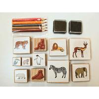 Kit Animaux Zoo Ménagerie 11 tampons 5 crayons et 2 encreurs