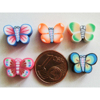 Perles FIMO 13mm PAPILLON Mix couleurs motifs par 10 pcs