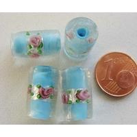 Perles verre Bande argentée TUBES 16mm BLEU CLAIR par 4 pcs