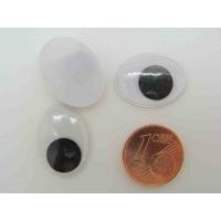 YEUX ovales 20x15mm plastique fond Blanc pupille mobile Noire par 20 pcs