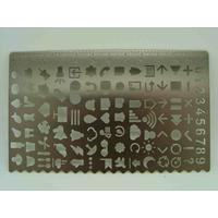 Normographe Trace symboles Règle métal pochoir 12,5cm par 1 pc