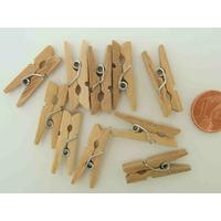 Mini Pinces à linges 25mm bois brut marque-place par 50 pcs