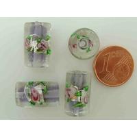 Perles verre Bande argentée TUBES 16mm MAUVE par 4 pcs