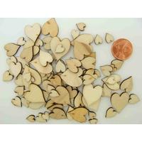 Découpes Bois Coeur 7 à 14mm support à décorer Embellissement par 100 pcs