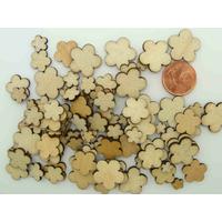 Découpes Bois Fleurs 6 à 14mm support à décorer Embellissement par 100 pcs