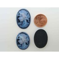 Cabochons Résine Ovale 24x18mm CAMEE Bleu Foncé profil femme par 6 pcs